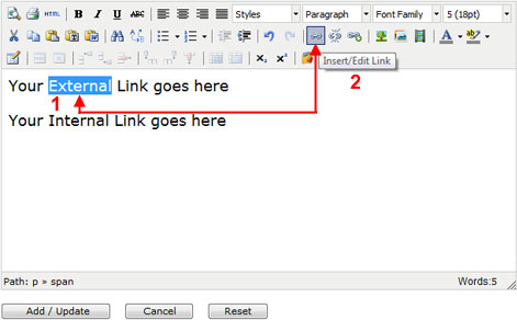 Insert External Hyperlink